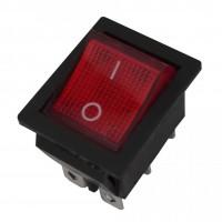 Intrerupator pe fir, simplu, cu indicator luminos, Adeleq 02-547, incastrat, rosu cu negru
