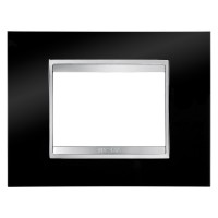 Rama Gewiss Chorus Lux GW16203TN, 3 module, neagra, pentru priza / intrerupator