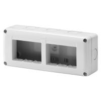 Cadru aparent Gewiss GW27005, 6 module, IP40, gri, pentru priza / intrerupator