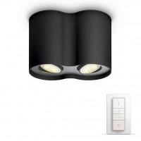 Spot LED Hue Pillar 5633230P7, 2 x GU10, 2 x 5.5W, lumina calda / rece, orientabil, negru + variator