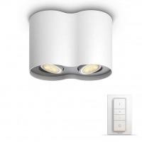 Spot LED Hue Pillar 5633231P7, 2 x GU10, 2 x 5.5W, lumina calda / rece, orientabil,  alb + variator