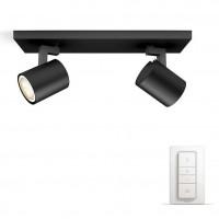 Plafoniera LED Hue Runner 5309230P7, GU10, 2 x 5.5W, 2 x 250 lm, lumina calda / rece, neagra + variator