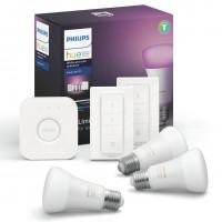 Starter Kit Philips Hue: 3 becuri inteligente LED color RGB E27 clasic A19 9W + 1 consola + 2 intrerupatoate cu variator, Wi-Fi