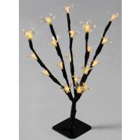 Copac cu 20 LED-uri albe cu lumina calda, Hoff, 25 cm, alimentare baterii