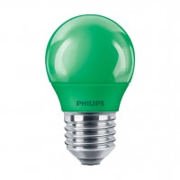 Bec LED color Philips mini P45 E27 3.1W lumina verde