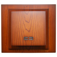 Intrerupator simplu, cu indicator luminos, Mono Electric Larissa, incastrat, rama inclusa, cires