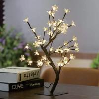 Copac cu 48 LED-uri albe cu lumina calda, 45 cm, alimentare priza
