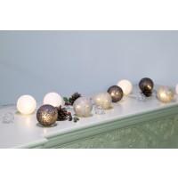 Instalatie glob Craciun 10 LED-uri cu lumina calda, alb / gri / gri inchis, alimentare baterii