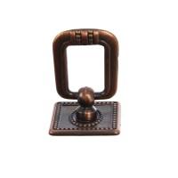 Maner pentru mobila, tip inel, din zamac, finisaj cuprat antic, 33 x 36 mm