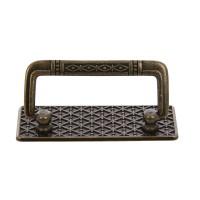 Maner pentru mobila, rabatabil, din zamac, finisaj alamit antic, 64 mm