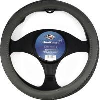 Husa auto pentru volan Carmax Premium, piele sintetica, D 37 - 43 cm, gri