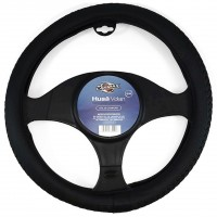 Husa auto pentru volan Carmax Premium, piele sintetica, D 37 - 43 cm, negru