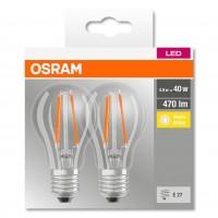 Bec LED filament Osram clasic A E27 4W 470lm lumina calda 2700 K - 2 buc