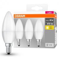 Bec LED Osram lumanare B E14 5.5W 470lm lumina calda 2700 K - 3 buc