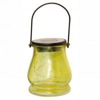 Lampa solara LED Hoff, felinar, sticla, otel, H 10.5 cm