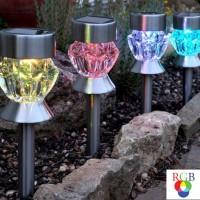 Lampa solara LED RGB Hoff, prismatica, H 36 cm