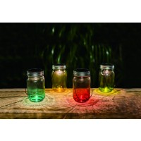 Lampa solara microLED Hoff, borcan colorat, H 13.5 cm, diverse culori