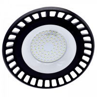 Corp iluminat LED, 150W, 13500 lm, aparent / suspendat, D 35 cm, IP65, lumina rece, negru