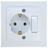 Priza mobilier simpla cu intrerupator Mono Electric, incastrata, rama inclusa, alba