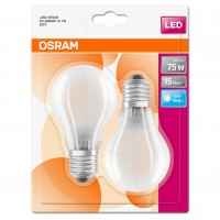 Bec LED Osram clasic A75 E27 8W 1055lm lumina neutra 4000 K, mat, cu filament - 2 buc