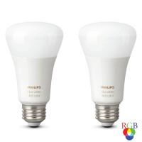 Bec inteligent LED color Philips Hue clasic A19 E27 9W 806lm lumina RGB, Wi-Fi, Bluetooth, dimabil, set 2 buc