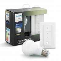 Kit de pornire Philips Hue: variator + bec inteligent LED clasic A60 E27 9W 806lm lumina calda 2700 K, dimabil
