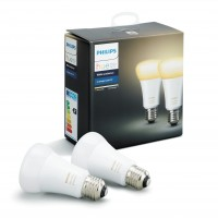 Bec inteligent LED Philips Hue Ambiance clasic A19 E27 8.5W 806lm lumina calda / rece 2200-6500 K, Wi-Fi, Bluetooth, dimabil, set 2 buc