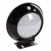 Aplica solara LED Hoff, 8W, lumina rece - 6000 K, cu senzor de miscare, neagra