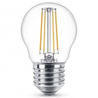 Bec LED filament Philips mini P45 E27 4.3W 470lm lumina calda 2700 K