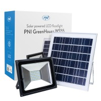 Proiector LED PNI WS55, 50W, 1200lm, lumina rece, cu panou solar