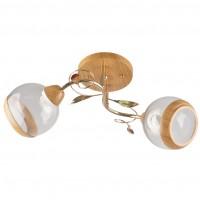 Plafoniera Irma LY-3290, 2 x E27, lemn natur + auriu