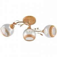 Plafoniera Irma LY-3291, 3 x E27, lemn natur + auriu
