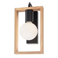 Aplica Timber 01-1663, 1 x E27, negru mat + lemn de fag natur