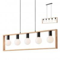 Suspensie Timber 01-1666, 5 x E27,negru mat si lemn de fag natur