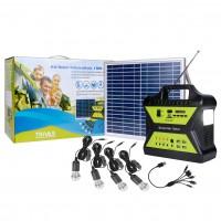 Sistem solar cu panou fotovoltaic 10W + generator 12V / 7Ah, 4 x bec LED, USB / radio / lanterna