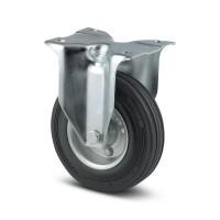Roata fixa, din otel + cauciuc, fara frana, cu placa, 160 mm, 135 kg