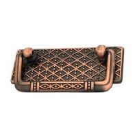 Maner pentru mobila, metalic, rabatabil, model geometric, finisaj cuprat antic, 64 mm