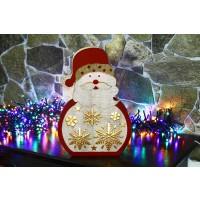 Decoratiune lemn om de zapada cu stele 5 LED-uri cu lumina calda, alimentare baterii