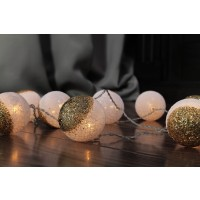 Instalatie glob auriu Craciun, Hoff, 10 LED-uri cu lumina calda, 1.35 m, interior