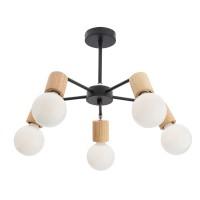 Plafoniera Easy BK / CH 01-1568, 5 x E27, negru mat + lemn natur