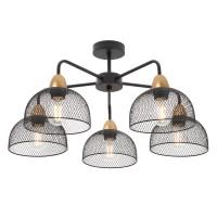 Plafoniera Tamis 01-1571, 5 x E27, negru mat + aur mat