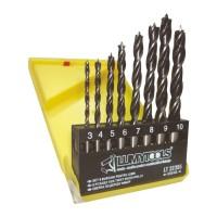 Burghiu pentru lemn, tip HSS, 3 - 10 mm, Lumytools LT22355, set 8 bucati