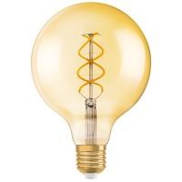 Bec LED decorativ vintage Osram Edison Fil Gold glob G125 E27 4.5W 250 lm lumina calda 2000 K, dimabil