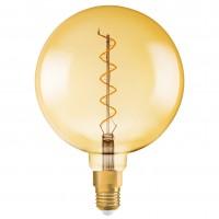 Bec LED decorativ vintage Osram Edison Fil Gold glob G200 E27 5W 300 lm lumina calda 2000 K, dimabil