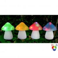 Lampa solara LED RGB Hoff, ciupercuta, polirasina + plastic, H 15 cm, diverse culori