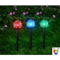 Lampa solara LED RGB Hoff, glob prismatic, plastic, H 38 cm