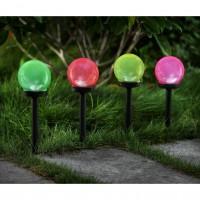 Lampa solara LED Hoff, glob color, plastic, H 38 cm, diverse culori