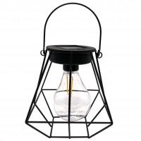 Lampa solara LED Hoff, felinar cu bec filament, H 17 cm