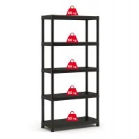 Raft din plastic, pentru depozitare, Keter Plus Shelf 90/40/5, 90 x 40 x 182 cm, negru, 55 kg/polita