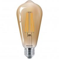 Bec LED Philips clasic ST64 E27 5.5W 600lm lumina calda 2500 K, cu filament, auriu